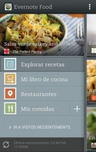 Evernote Food - menu